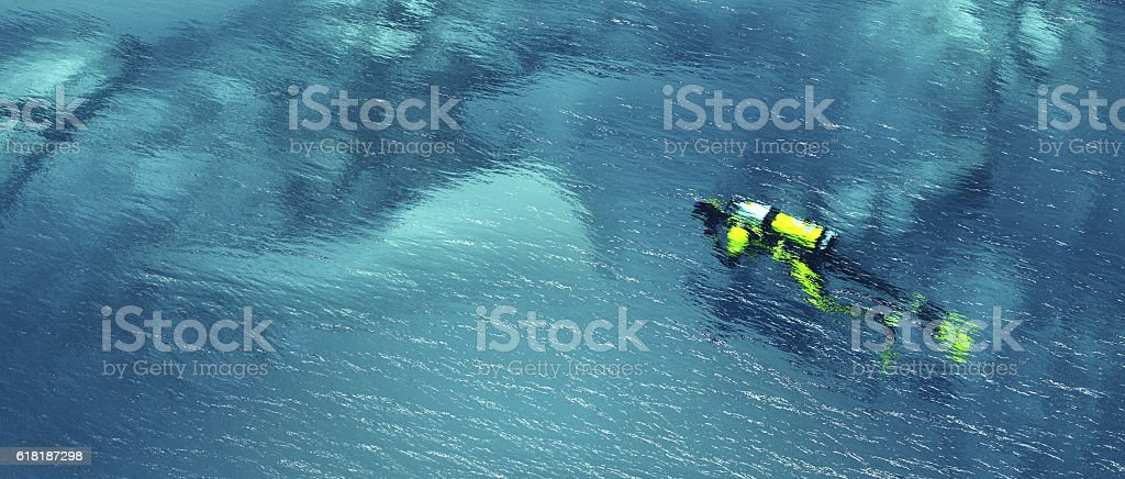 Man with diving suit stock photo