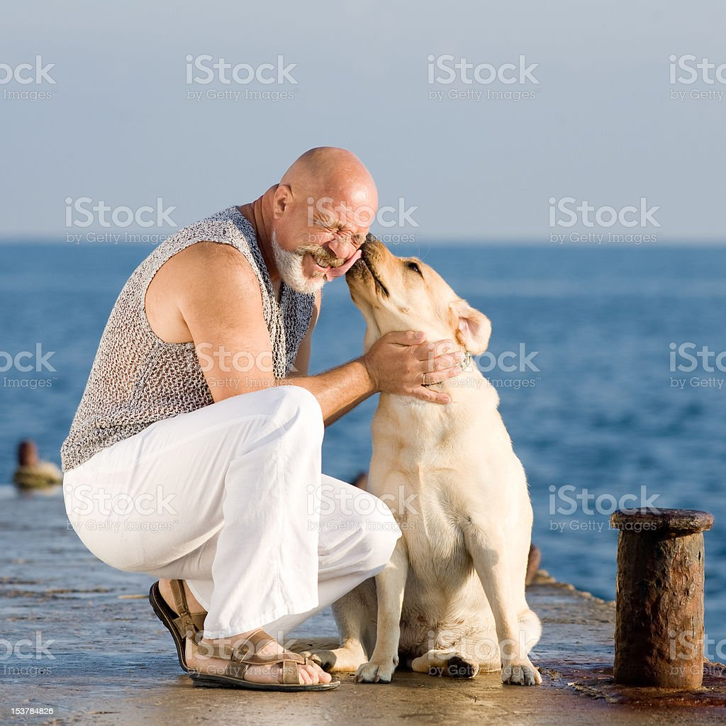 Man with dog royalty-free stock photo