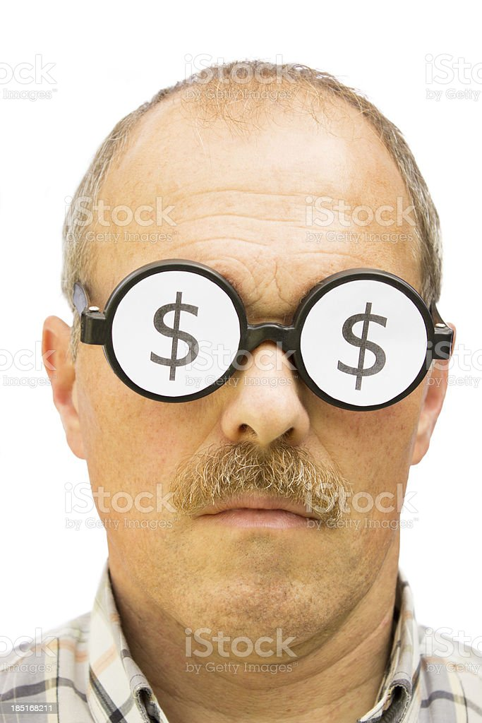 Man with dollar signs on his glasses royalty-free stock photo
