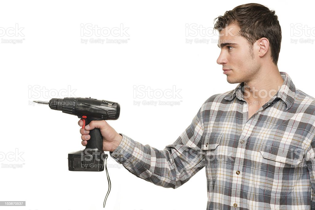 Man with drill machine royalty-free stock photo