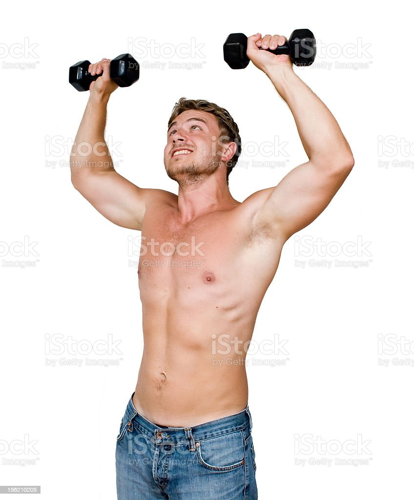 man with dumbbells royalty-free stock photo