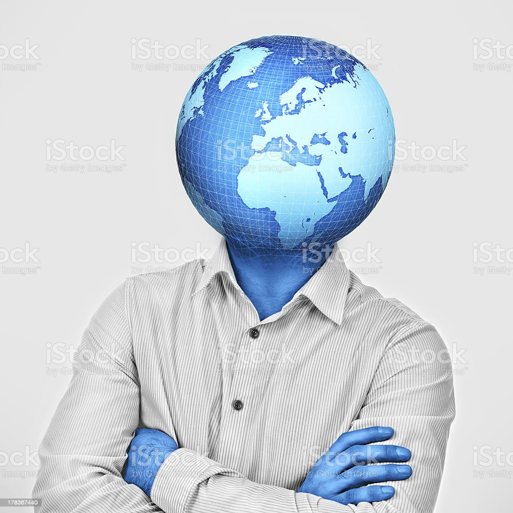 Man with earth enclosed and growing instead of his head royalty-free stock photo