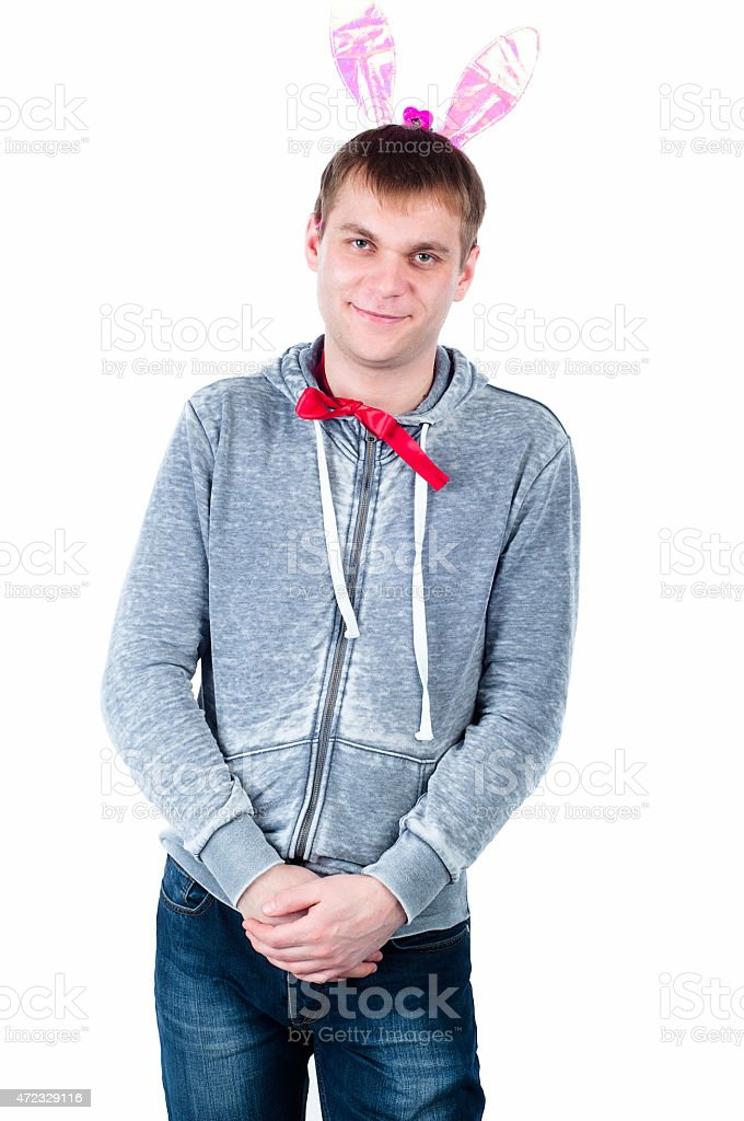 man with Easter Bunny ears stock photo