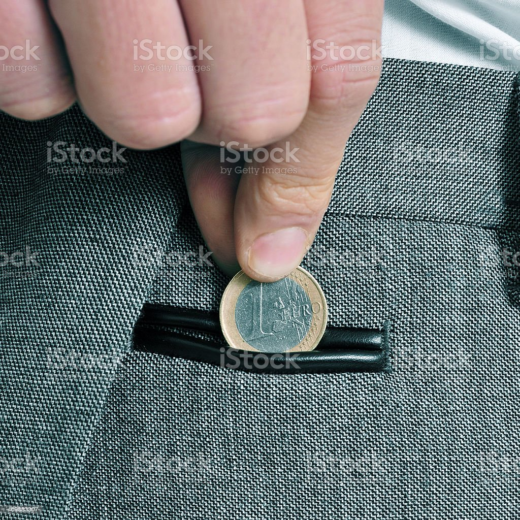 man with euro coin royalty-free stock photo