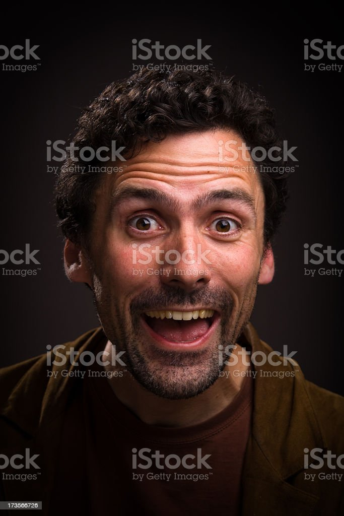 Man with excited expression on his face stock photo