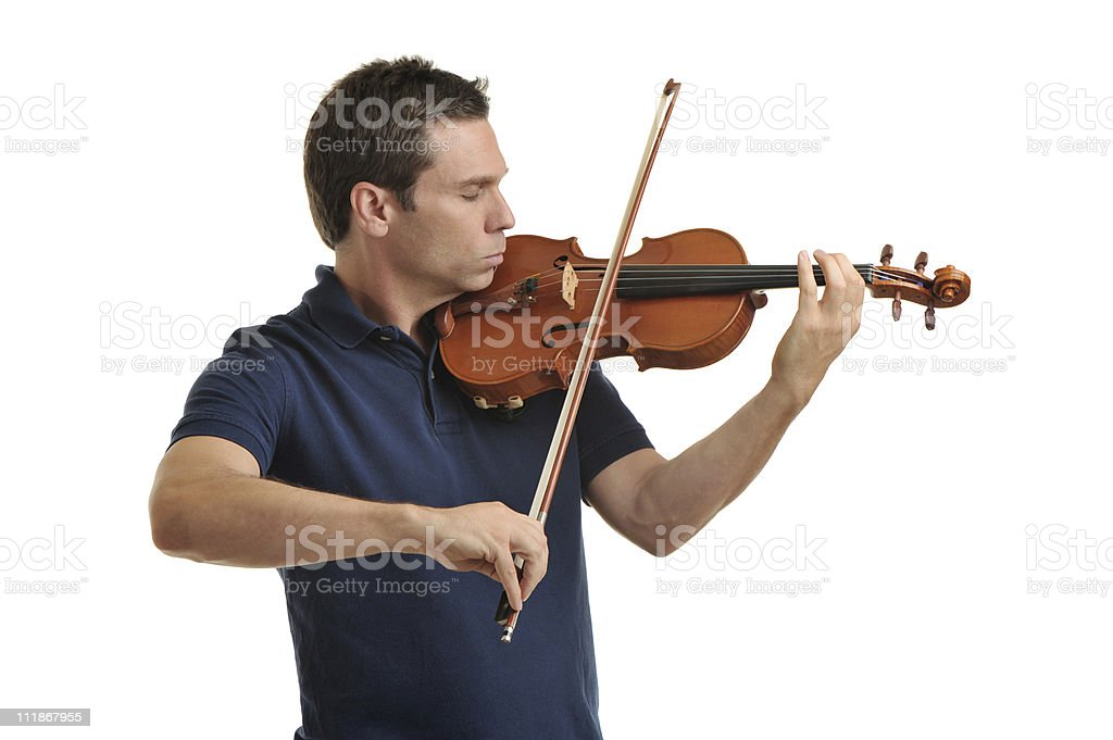 Man with Eyes Closed Playing Violin Isolated on White Background royalty-free stock photo