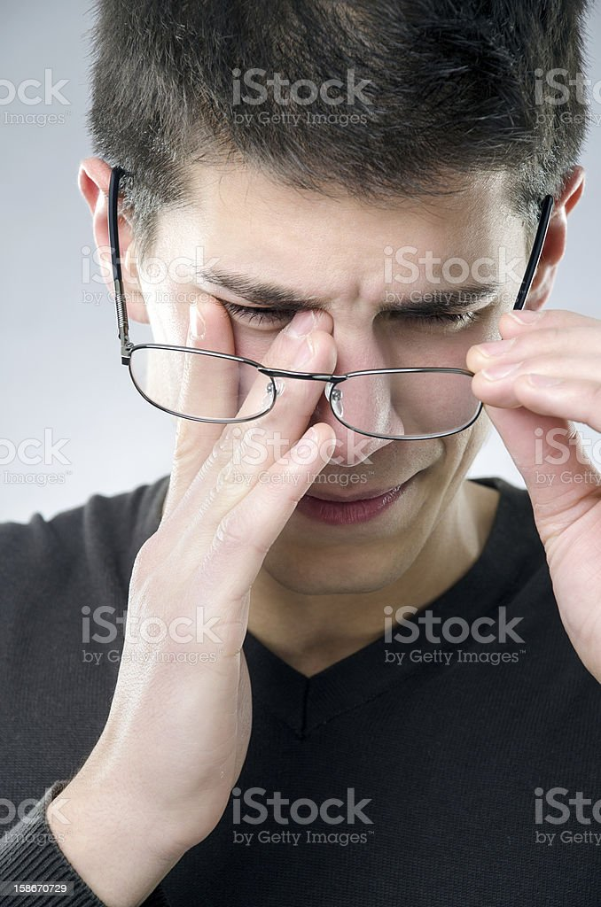 Man with eyesight problem stock photo