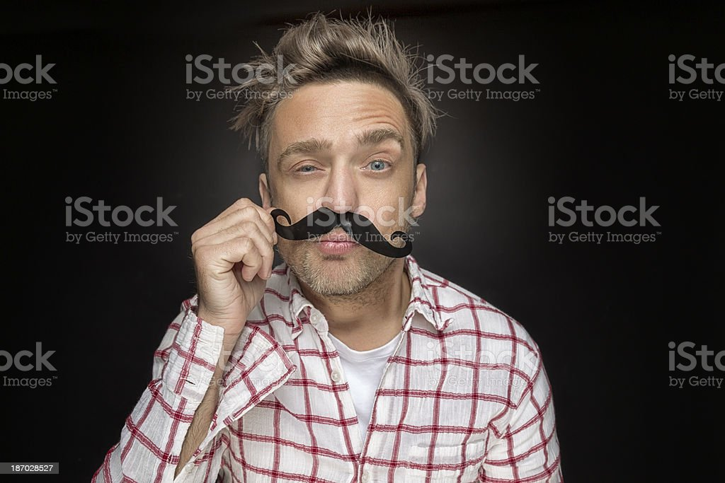 Man with fake mustache royalty-free stock photo