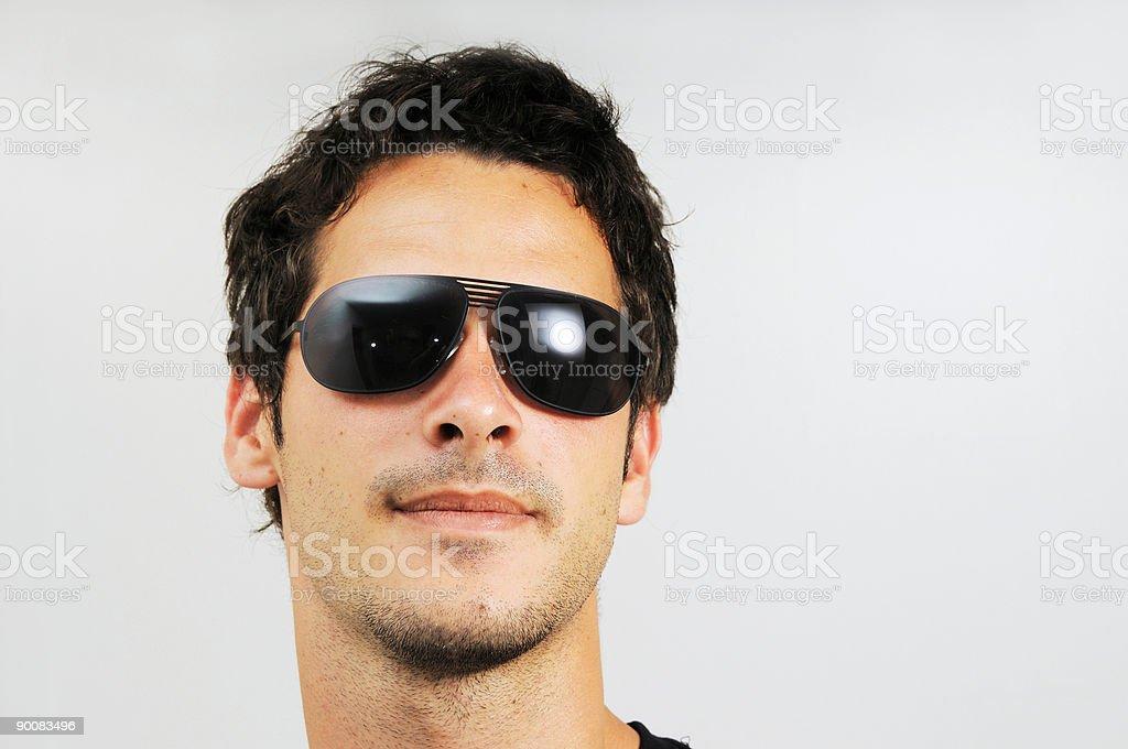 Man with fashion sunglasses stock photo