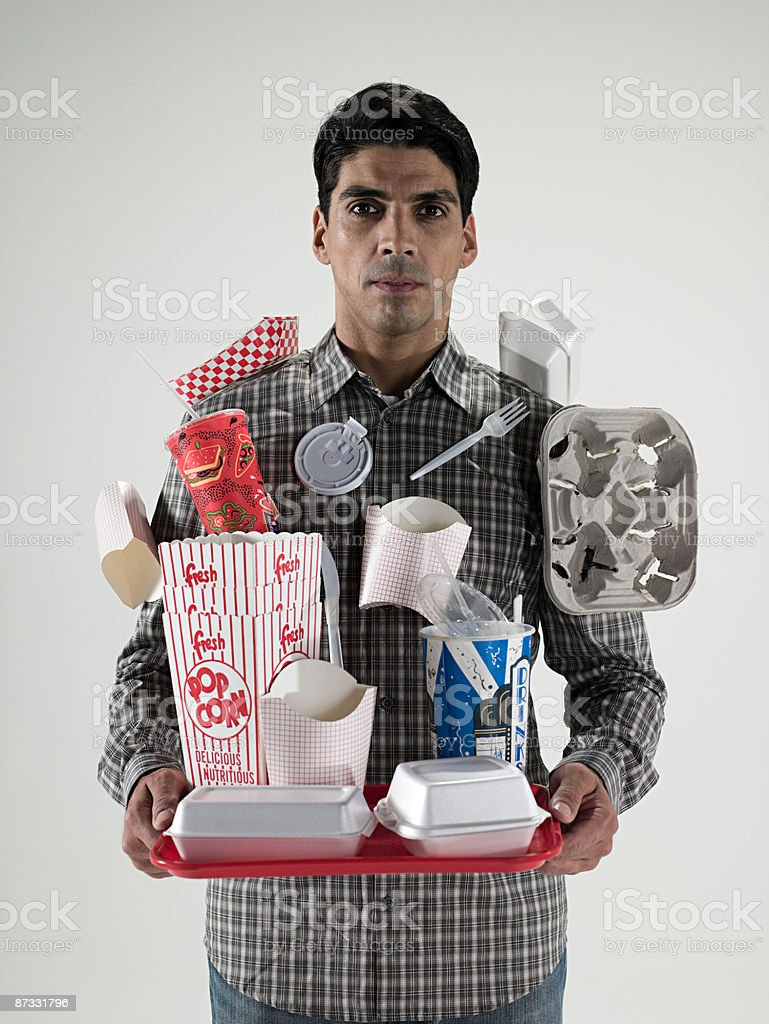 Man with fast food packaging royalty-free stock photo