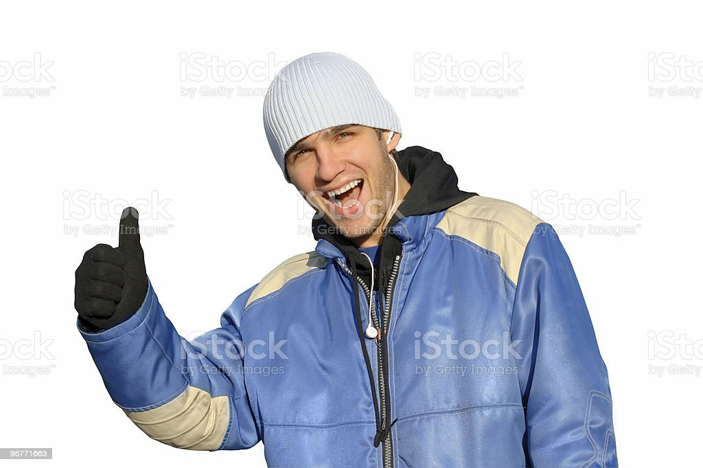 man with finger up royalty-free stock photo