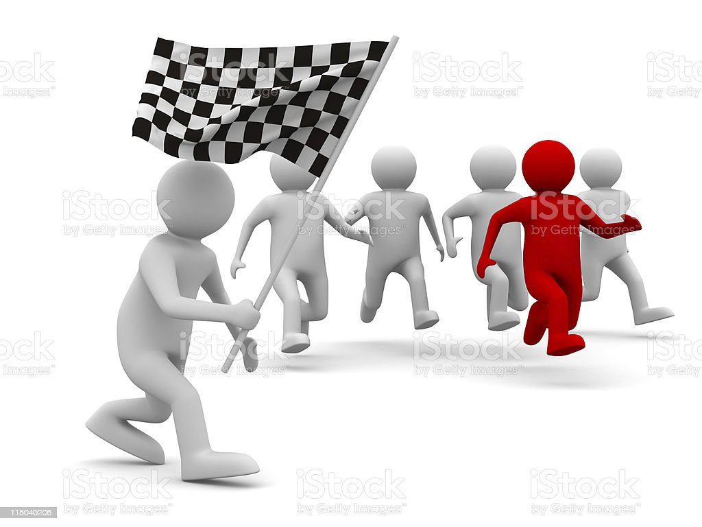 man with flag on white background. Isolated 3D image royalty-free stock photo