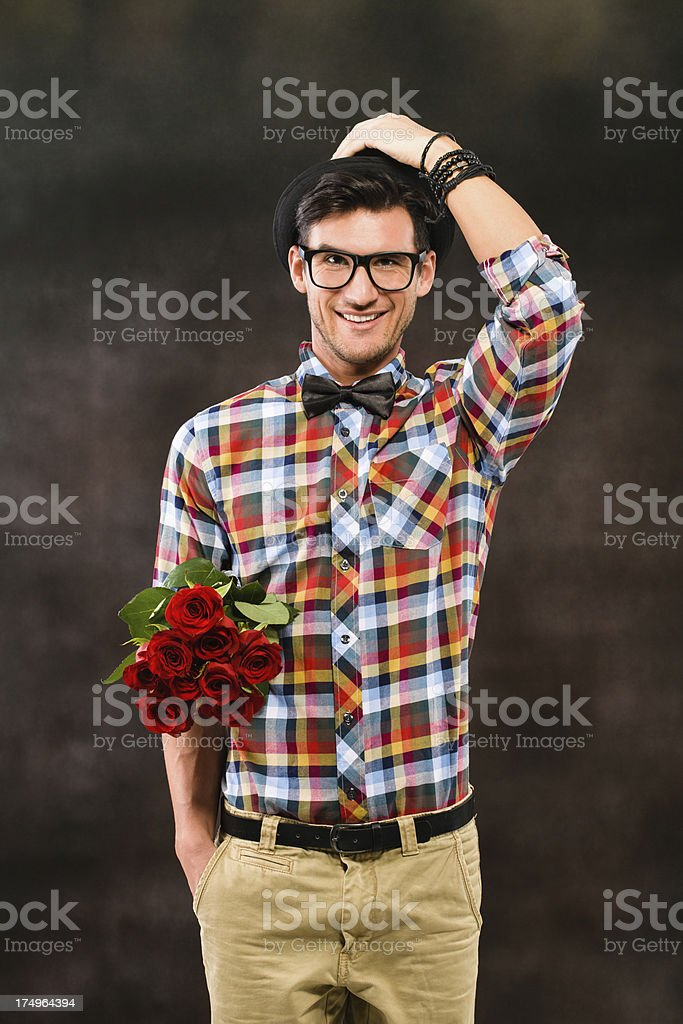 Man with flowers royalty-free stock photo