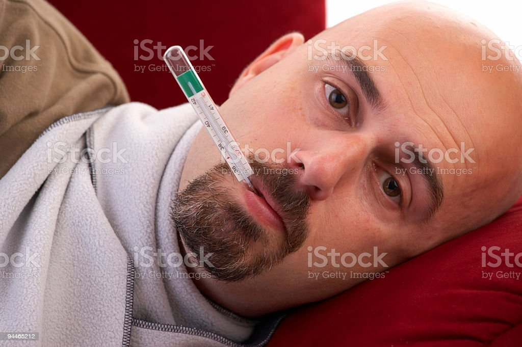 man with flu royalty-free stock photo