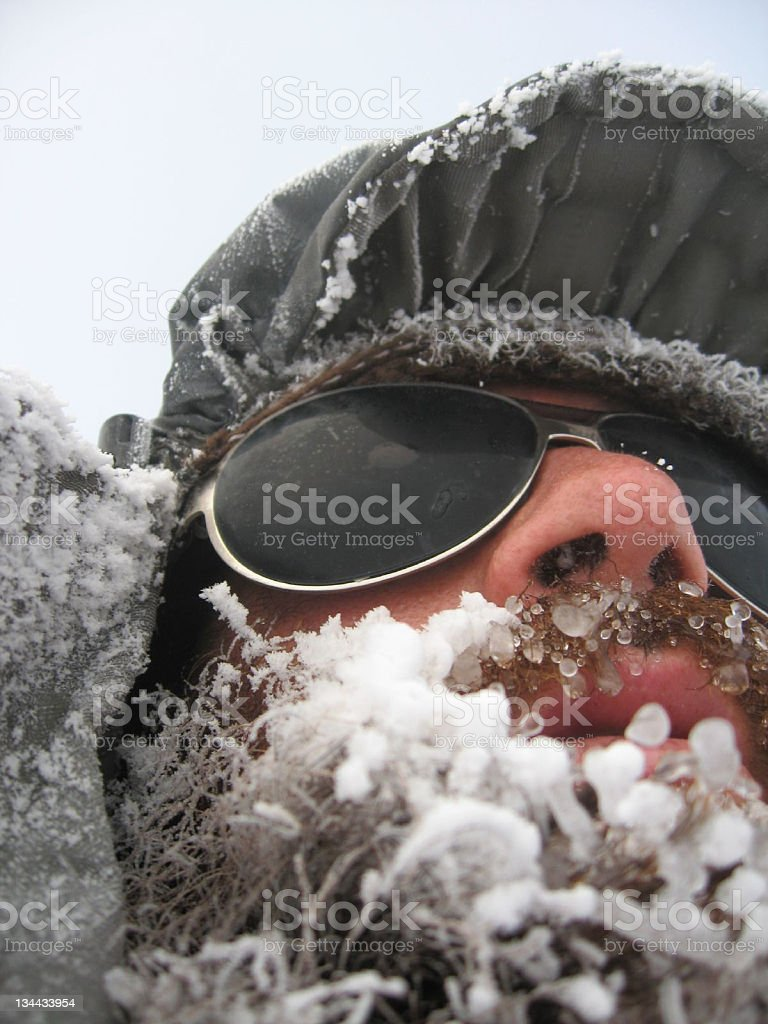 Man with frozen beard royalty-free stock photo