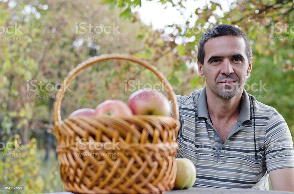 Man with fruit basket royalty-free stock photo