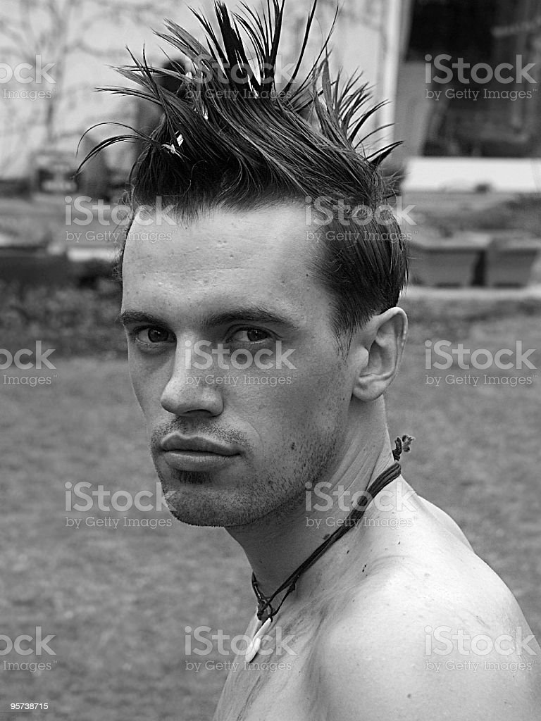 man with funky hair royalty-free stock photo