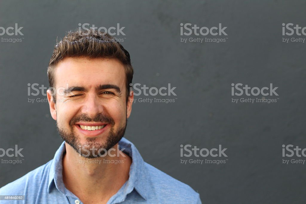 Man with funny facial expression stock photo