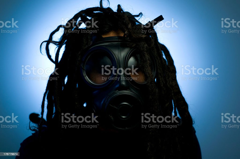 Man with gas mask royalty-free stock photo