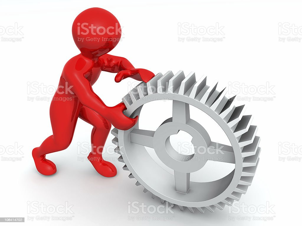 Man with gear. 3d royalty-free stock photo
