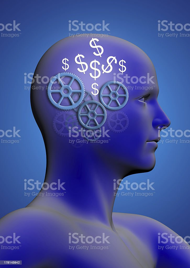 man with gears and a dollar in head royalty-free stock photo