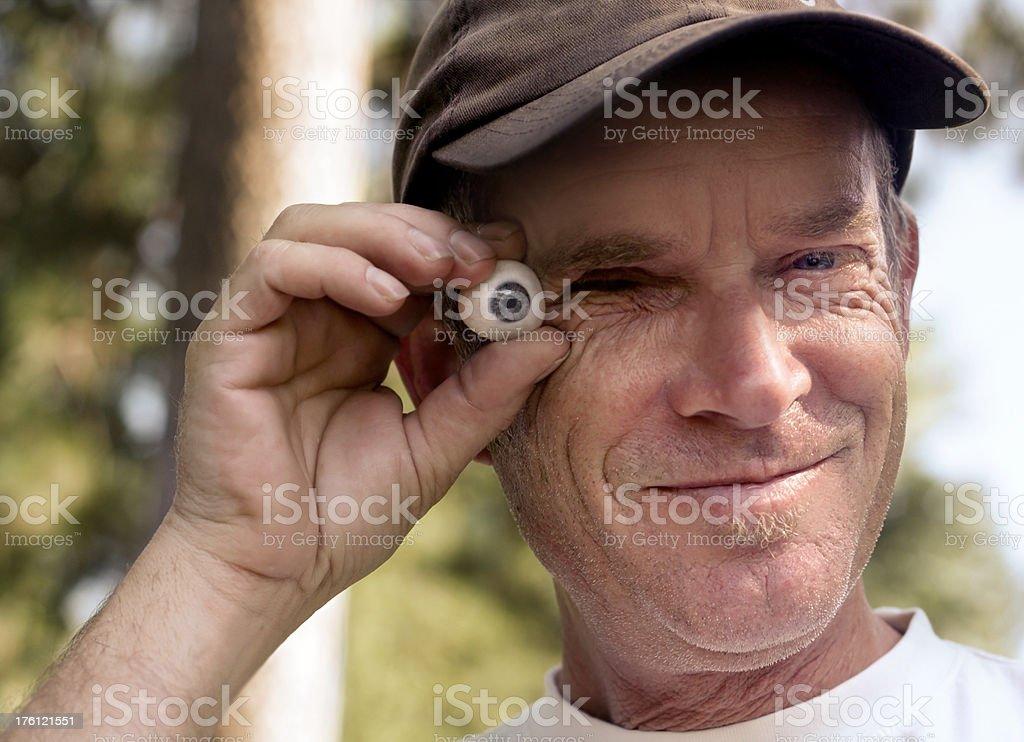 Man With Glass Eye stock photo