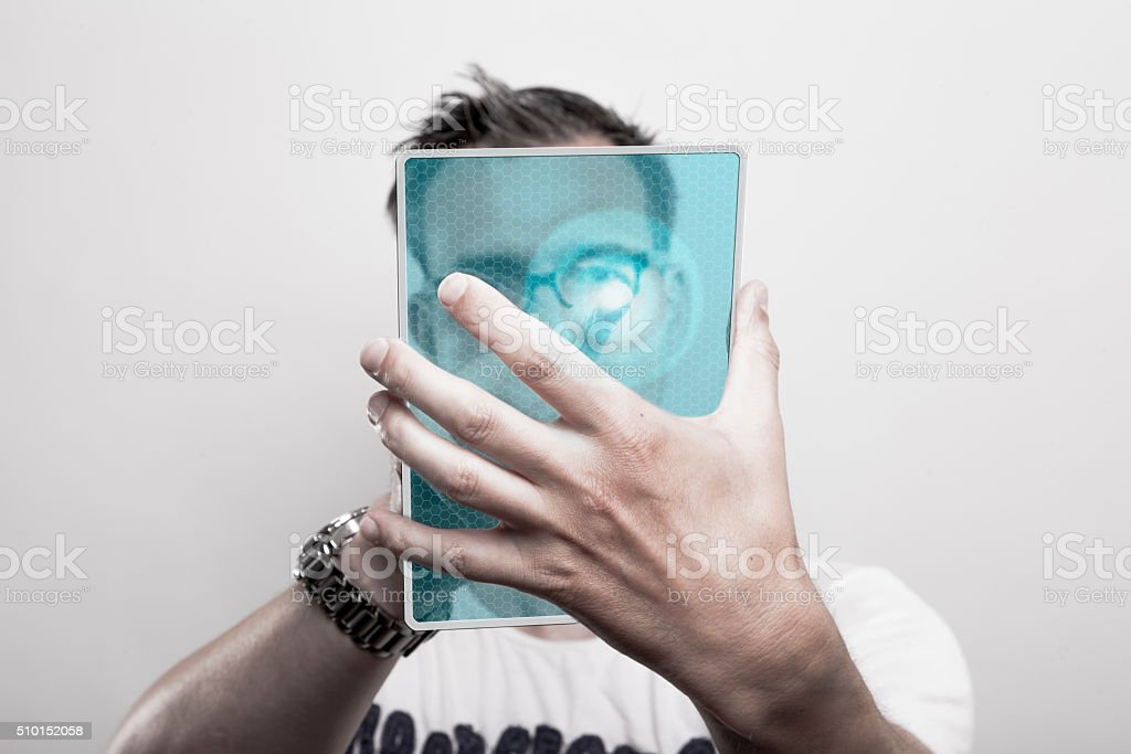 Man with glass tablet pc stock photo