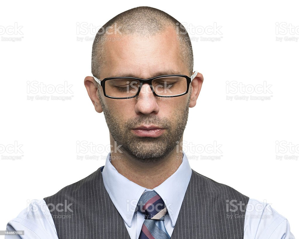 Man With Glasses Closes Eyes stock photo
