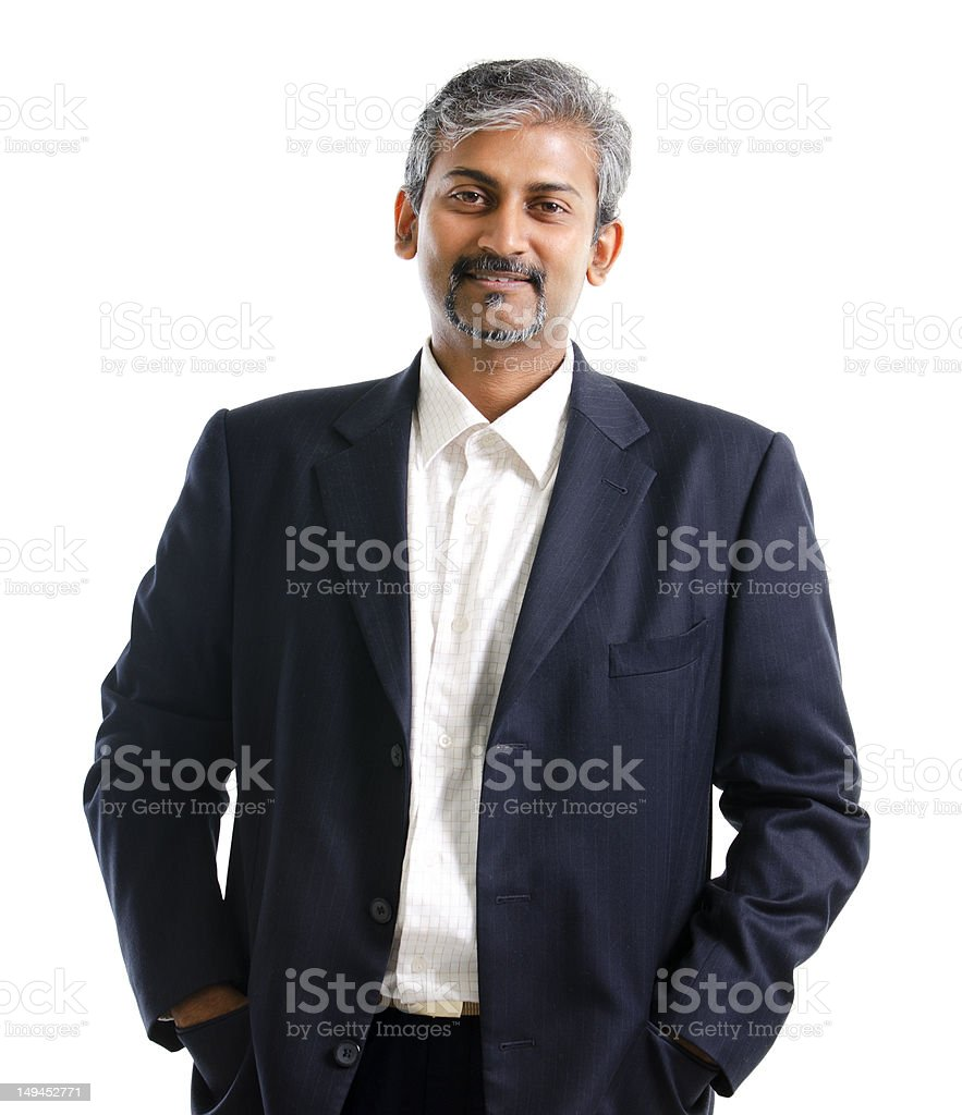 Man with gray hair and beard wearing shirt and blue suit stock photo