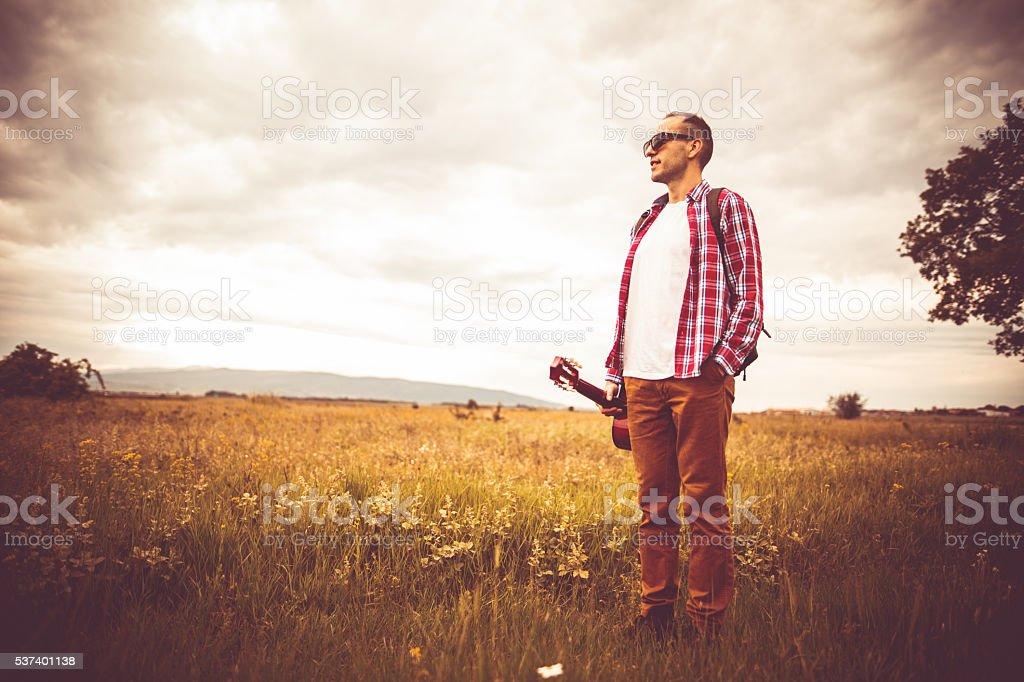 Man with guitar stock photo