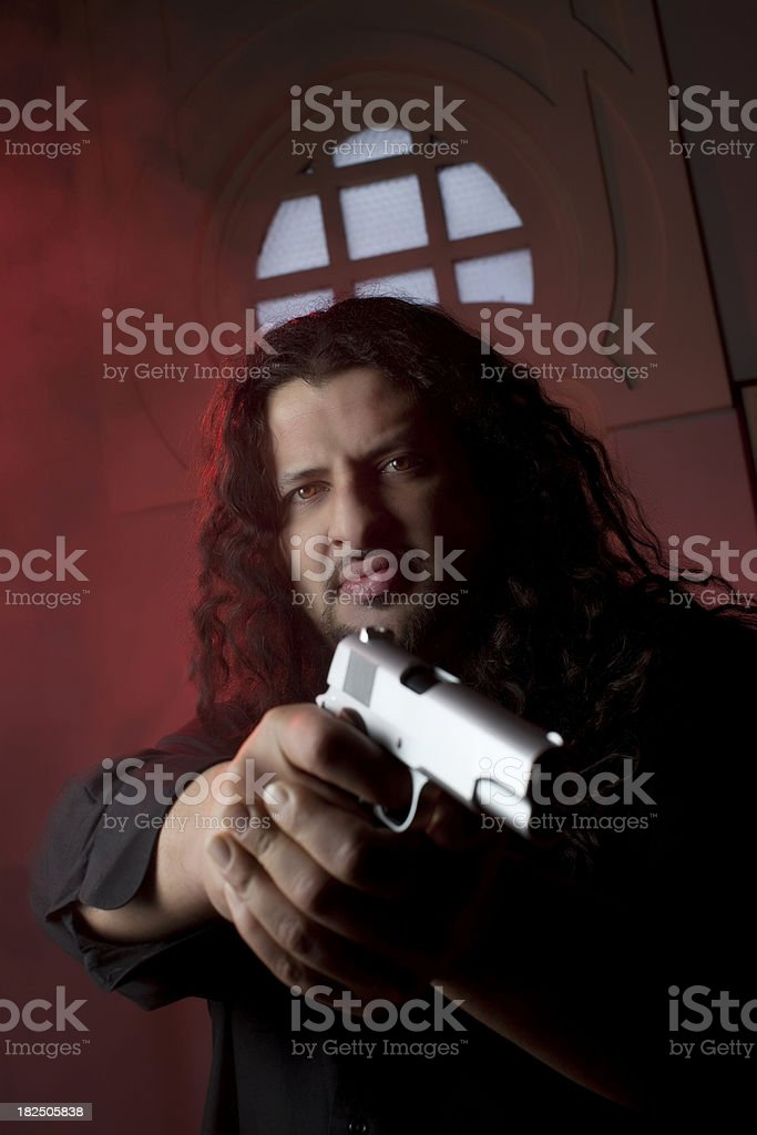 Man with Gun stock photo