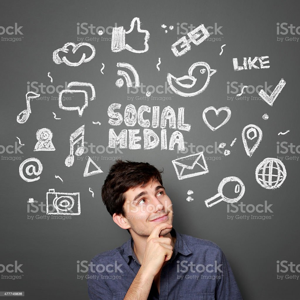 man with Hand drawn illustration of social media concept stock photo