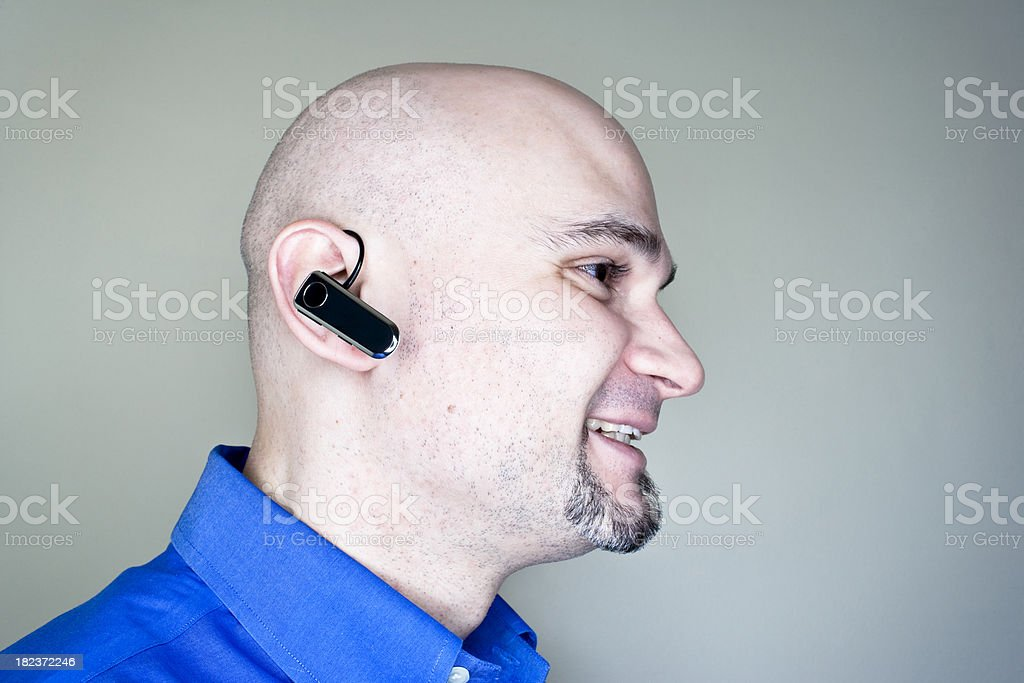 Man with Hands Free Phone royalty-free stock photo
