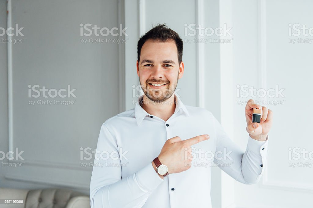 Man with happy facial expression stock photo