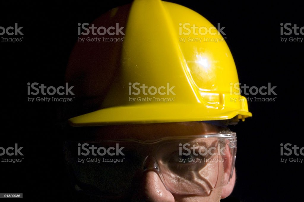 Man with Hard Hat and Goggles royalty-free stock photo