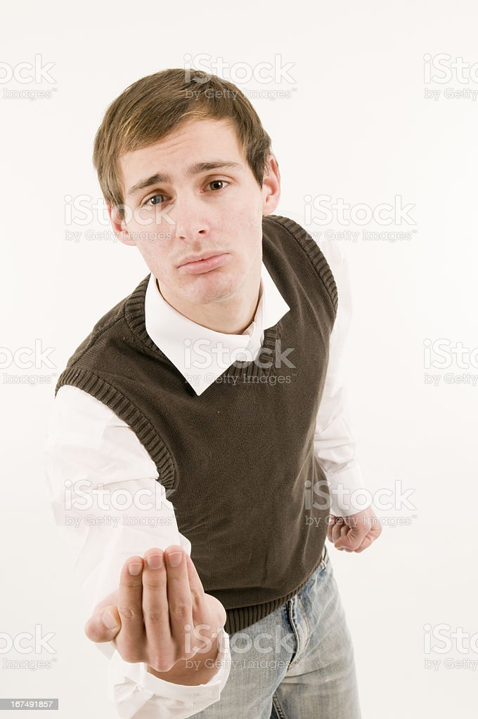 man with hidden fist royalty-free stock photo