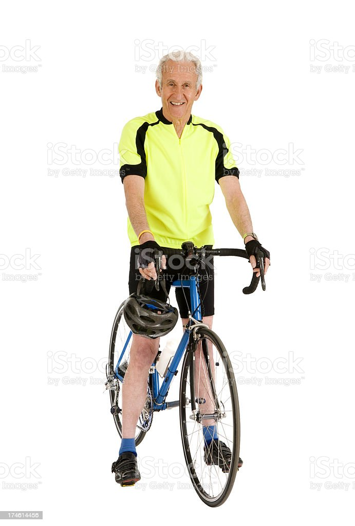 Man With His Bicycle stock photo