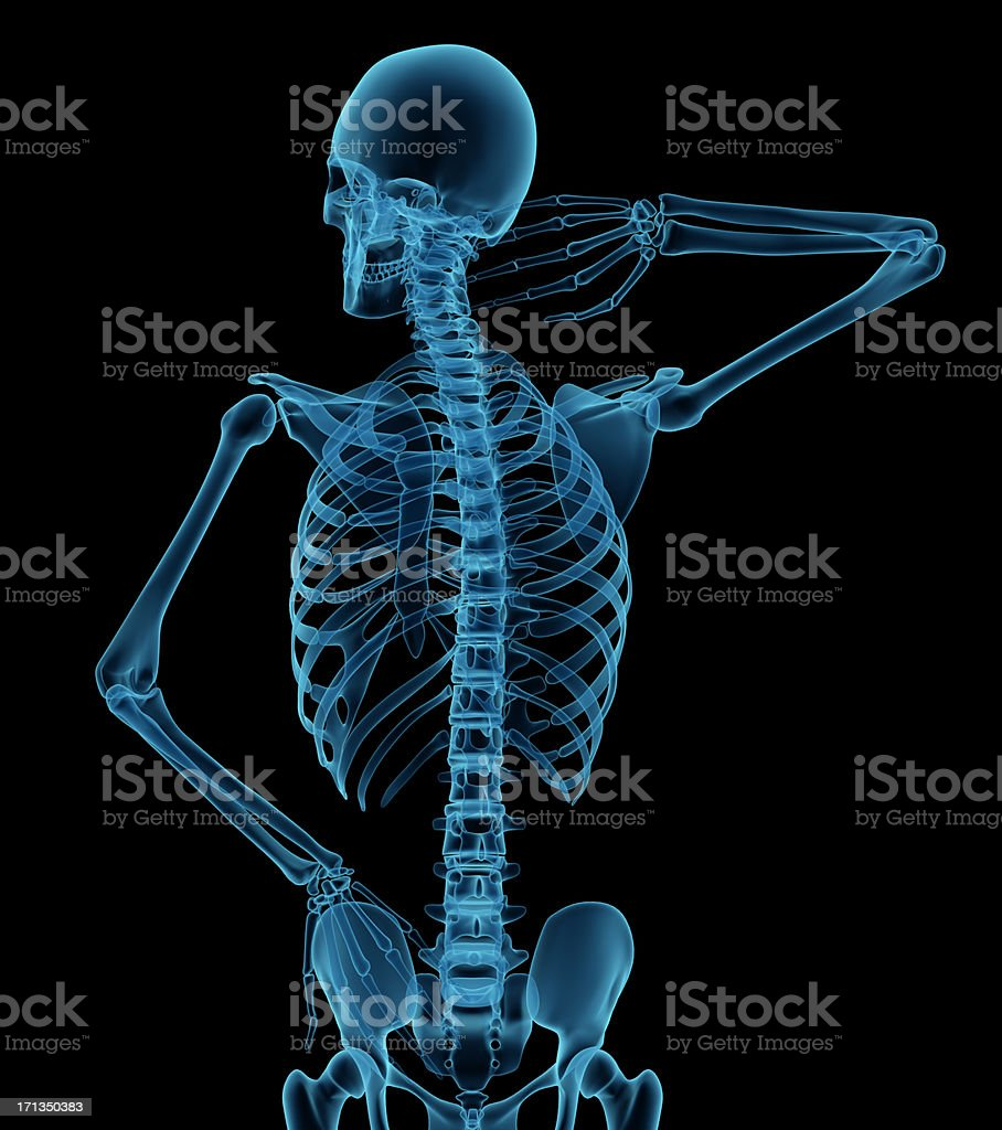 Man with his hand on neck and lower back royalty-free stock photo