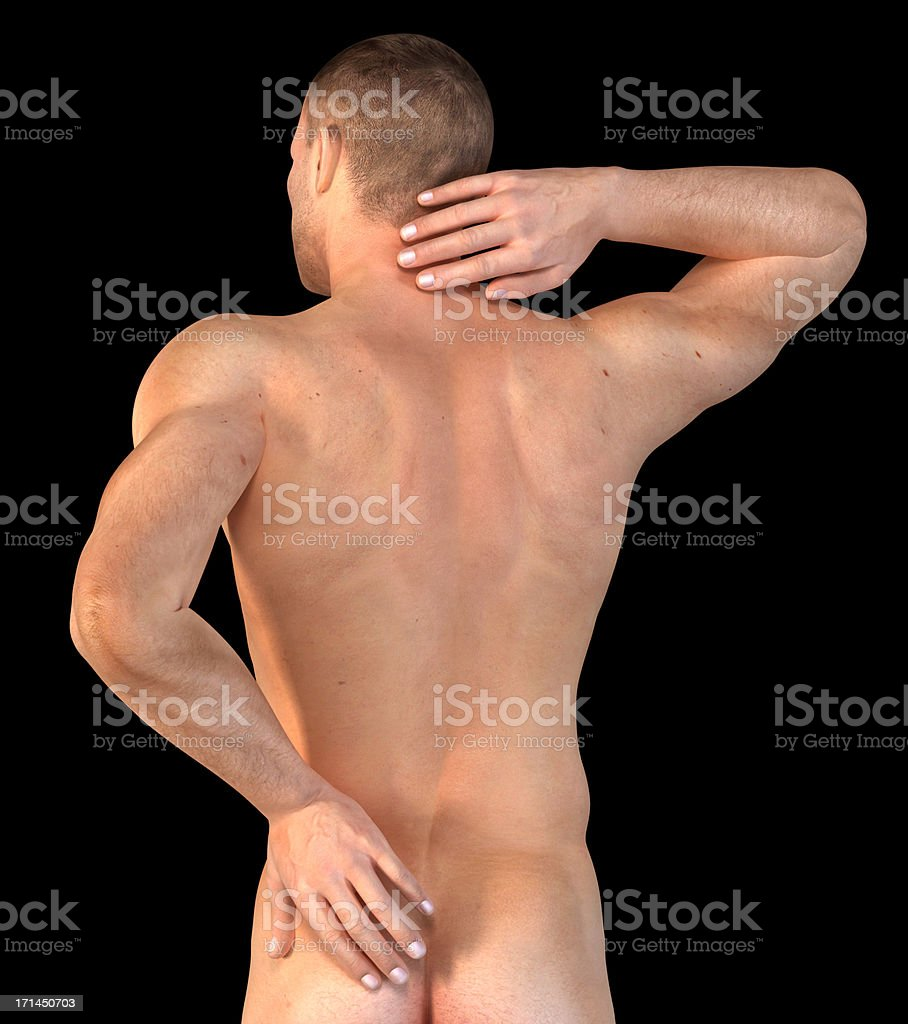 Man with his hand on neck and lower back stock photo