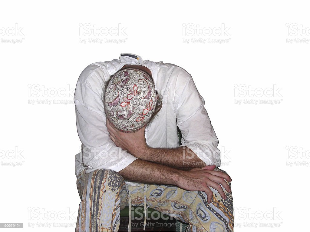 Man with his head down stock photo