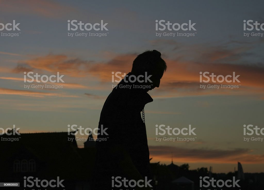 man with his headphones royalty-free stock photo