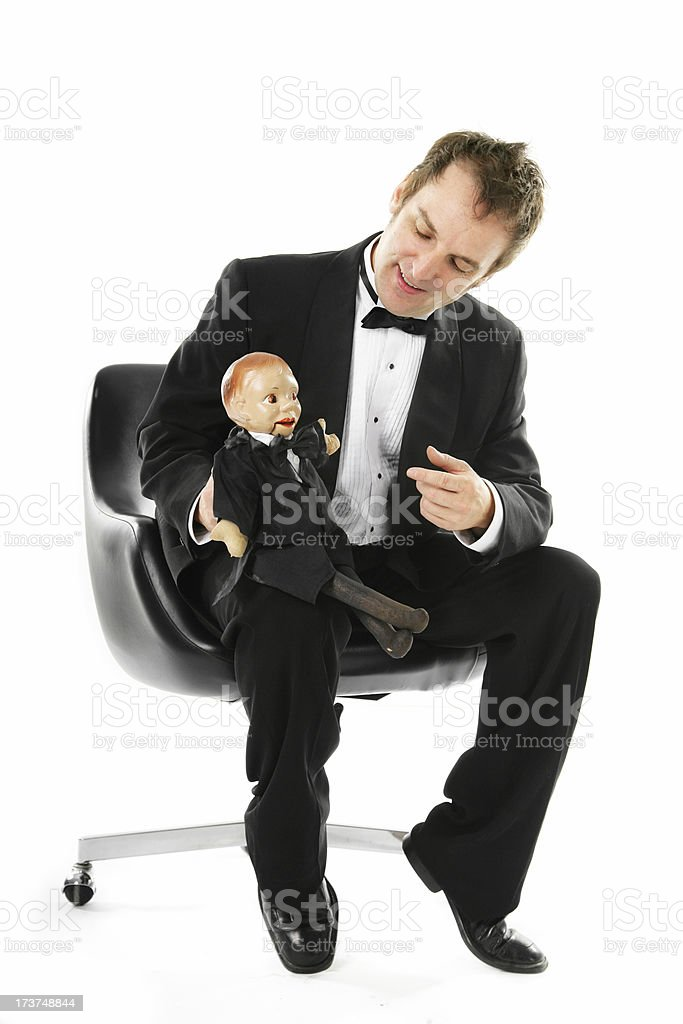 Man with his puppet stock photo