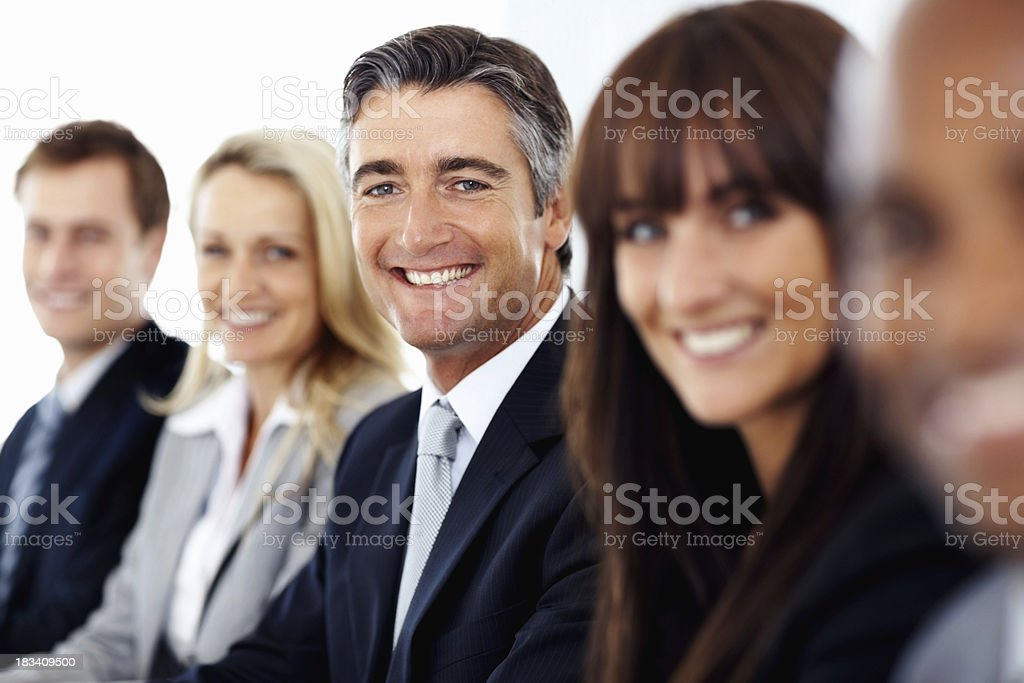Man with his successful business team royalty-free stock photo