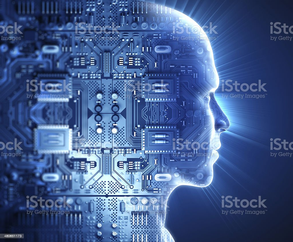 Man with hi-tech circuit theme stock photo
