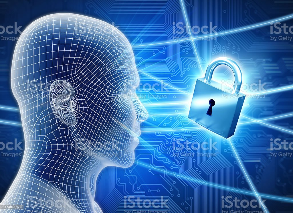 Man with hi-tech cyber security theme and lock royalty-free stock photo