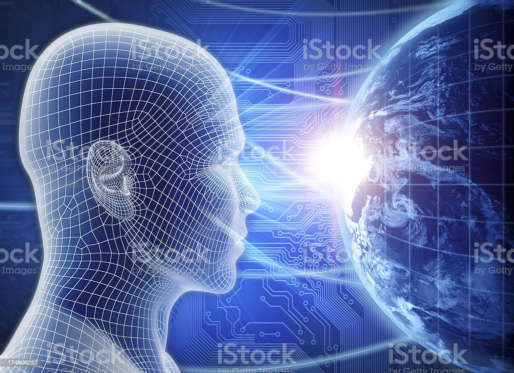 Man with hi-tech cyber theme royalty-free stock photo