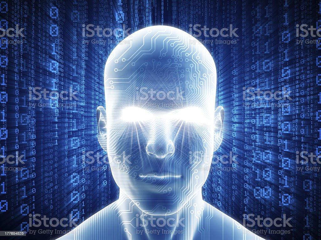 Man with hi-tech cyber theme royalty-free stock photo