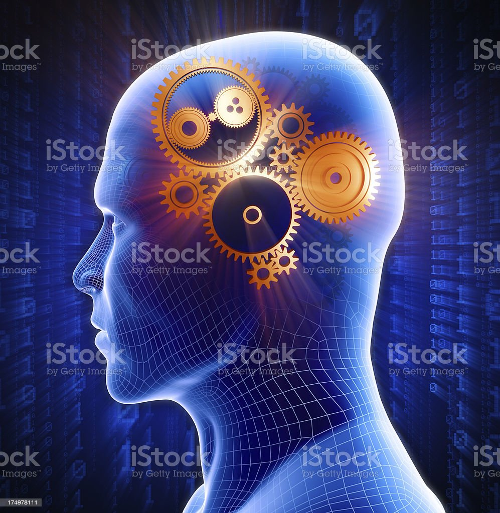 Man with hi-tech gears in head royalty-free stock photo