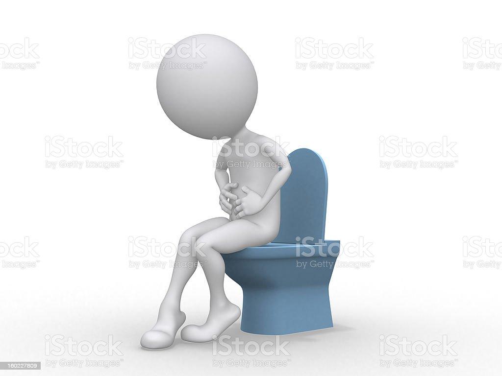 D uomo con problemi intestinali seduta sul wc foto di stock