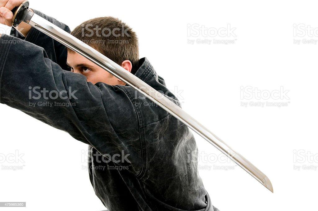 Man with katana stock photo